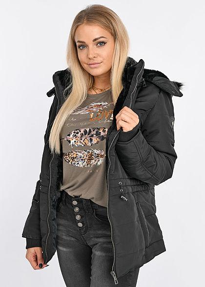 Seventyseven Lifestyle Damen Winter Steppjacke abnehmbare Kapuze 2-Pockets schwarz