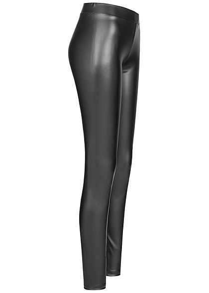 Seventyseven Lifestyle Damen Kunstleder Leggings Gummibund schwarz