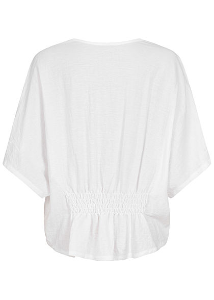 Seventyseven Lifestyle Dames Oversized V-Neck Blouse Shirt Crochet wit