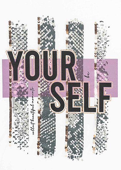 Seventyseven Lifestyle Dames T-Shirt Yourself Print Glitter wit