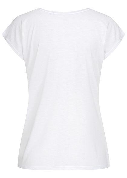 Seventyseven Lifestyle Damen Kurzarm T-Shirt Love Mickey Print weiss
