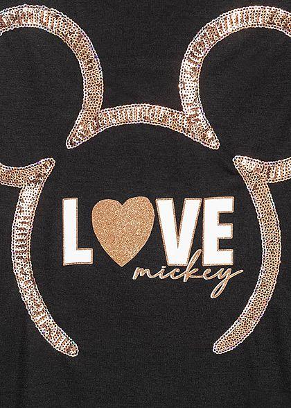 Seventyseven Lifestyle Damen Kurzarm T-Shirt Love Mickey Print schwarz