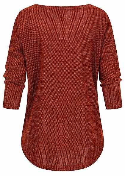 ONLY Damen NOOS 3/4-Arm Struktur Shirt Vokuhila picante rot braun