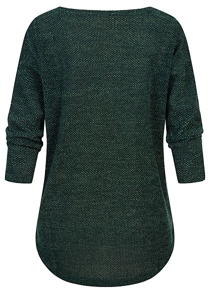 ONLY Damen NOOS 3/4-Arm Struktur Shirt Vokuhila pine grove dunkel grün