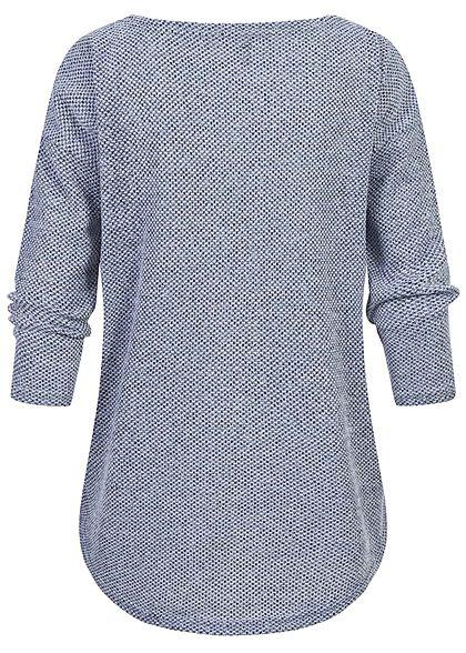 ONLY Damen NOOS 3/4-Arm Struktur Shirt Vokuhila fog hell blau melange