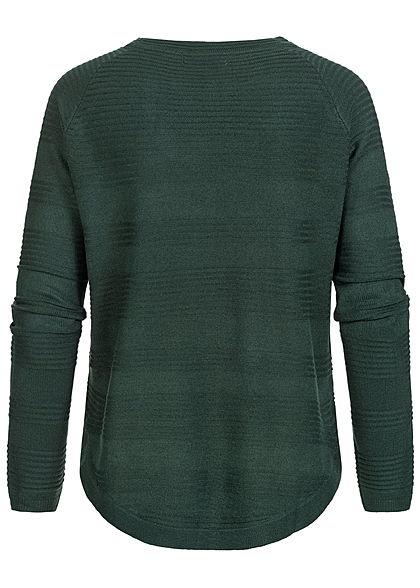 Hailys Damen leichter Struktur Strickpullover Sweater Querstreifen dunkel grün