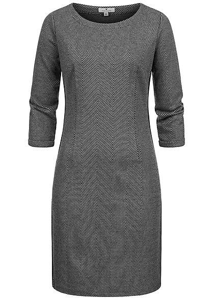 Tom Tailor Damen 3/4 Arm Etuikleid Jaquard Fischgräten Muster dunkel grau schwarz
