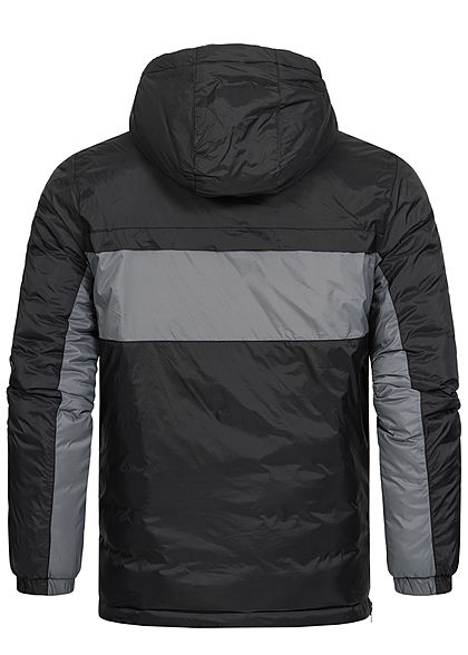 Sublevel Herren Pull Over Colorblock Schlupfjacke Kapuze 2-Pockets schwarz grau