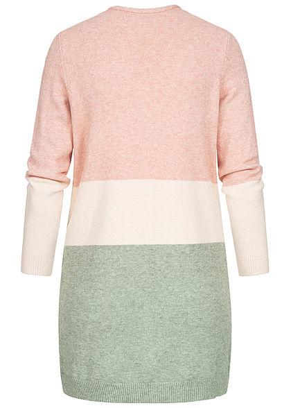 ONLY Damen NOOS Midi Colorblock Cardigan 2-Pockets smoke rosa beige grün