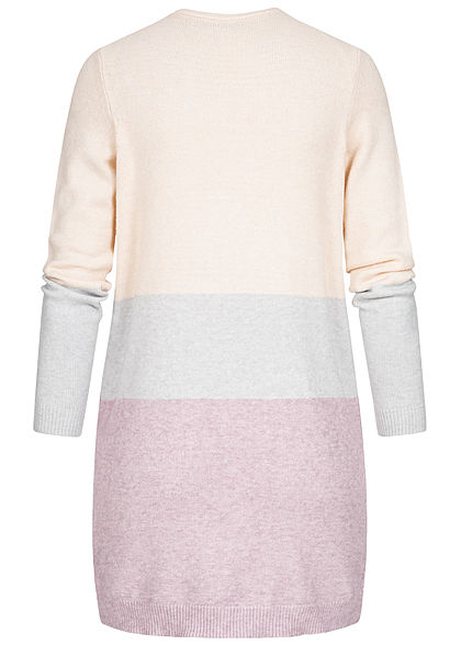 ONLY Damen NOOS Midi Colorblock Cardigan 2-Pockets ecru beige grün rosa