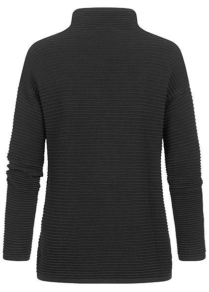 Tom Tailor Damen High-Neck Ottoman Strukturpullover Sweater tief schwarz