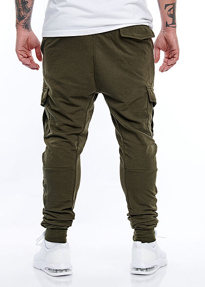 Brave Soul Herren Cargo Sweat Pants Jogginghose 4-Pockets breiter Bund unicolor khaki