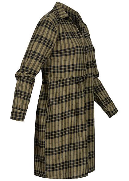 Hailys Damen V-Neck Puffer Kleid Knopfleiste Karo Muster khaki grün schwarz