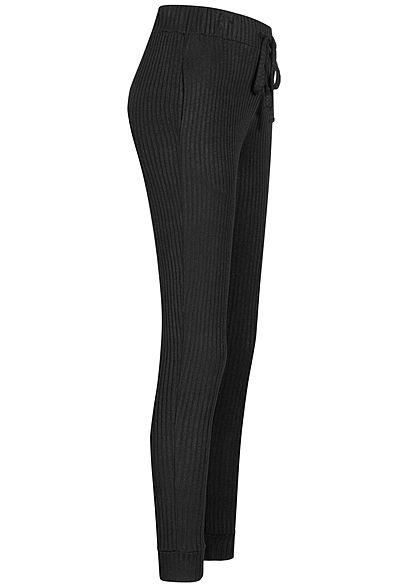 Hailys Damen Ribbed Viskose Stoffhose Sweatpants Tunnelzug 2-Pockets schwarz