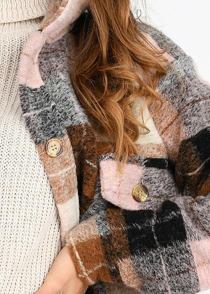 Hailys Damen Oversized Woll Mantel Knopfleiste Brusttasche Karo Muster rosa braun beige