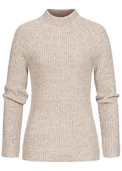 Tom Tailor Damen High-Neck Strickpullover Sweater hell warm beige melange