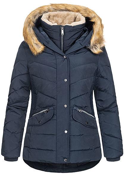 Tom Tailor Damen Winter Steppjacke Kunstfellkapuze 2-Pockets sky captain blau