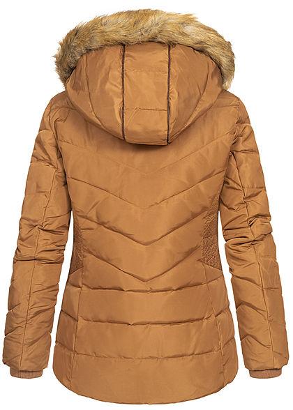 Tom Tailor Damen Winter Steppjacke Kunstfellkapuze 2-Pockets chestnut braun