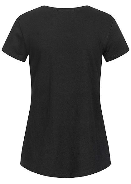 Tom Tailor Damen T-Shirt mit Stickerei Good Wines Only tief schwarz