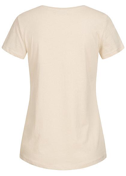 Tom Tailor Damen T-Shirt mit Stickerei Good Wines Only soft beige