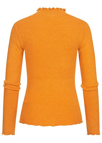 Tom Tailor Damen High-Neck Longsleeve mit Frill Details am Saum orange gelb