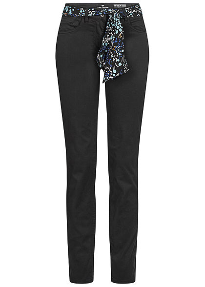 Tom Tailor Damen elegante Slim Fit Jeans 5-Pockets Regular Waist schwarz denim