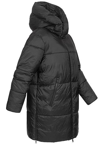 Hailys Damen Super Oversized Winter Steppmantel Kapuze 2-Pockets Halteband schwarz