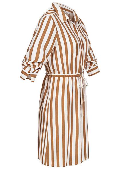 ONLY Damen NOOS 3/4 Arm Blusen Kleid Streifen Muster Taillenzug cloud weiss beige