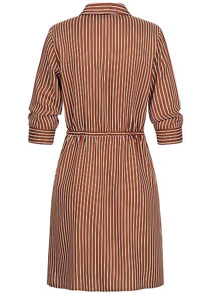 ONLY Damen NOOS 3/4 Arm Blusen Kleid Streifen Muster Taillenzug tortoise braun