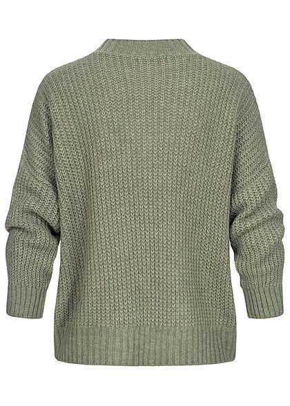 Hailys Damen Oversized V-Neck Strickpullover Sweater khaki grün