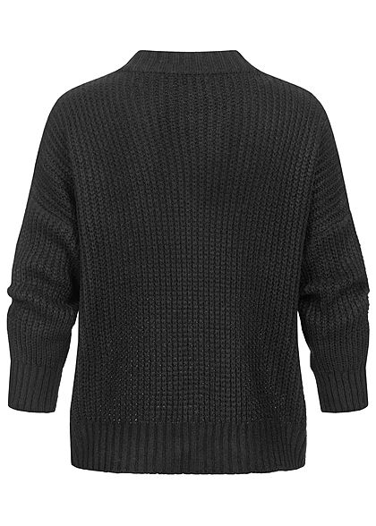 Hailys Damen Oversized V-Neck Strickpullover Sweater schwarz