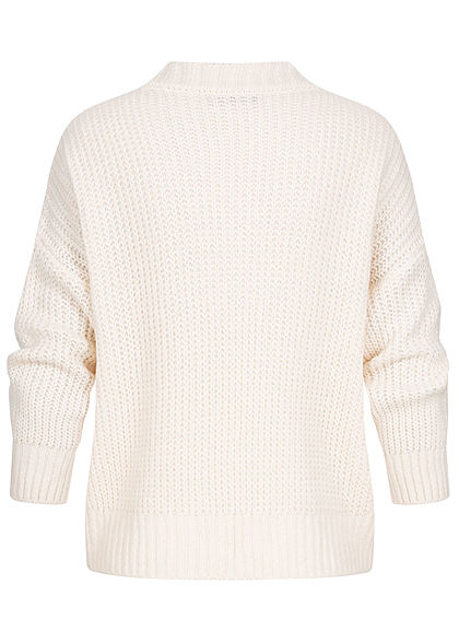 Hailys Damen Oversized V-Neck Strickpullover Sweater cream beige