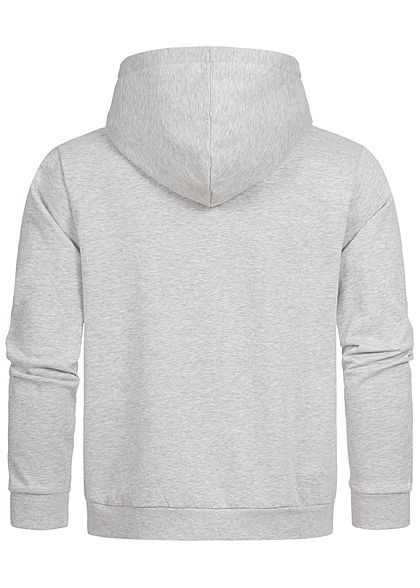 Seventyseven Lifestyle Herren Sweat Hoodie Kapuze Logo Print Kängurutasche grau schwarz mel