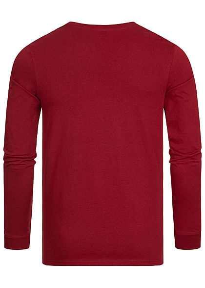Jack and Jones Herren 2-Tone Longsleeve leichter Pullover Logo Streifen sun dried rot
