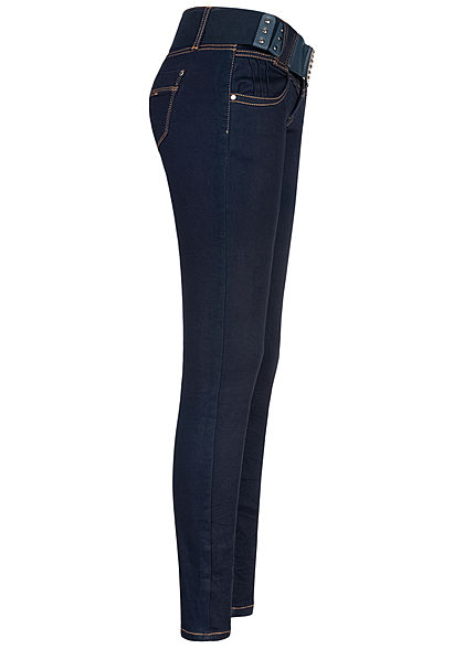 Seventyseven Lifestyle Damen Skinny Jeans Hose 4-Pockets inkl. Gürtel dunkel blau denim