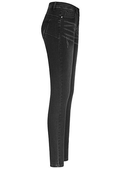 Seventyseven Lifestyle Damen Skinny Jeans Hose 5-Pockets Knopfleiste dirty wash schwarz