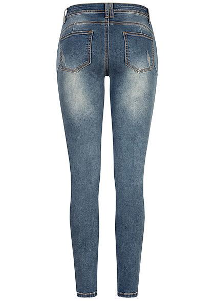 Seventyseven Lifestyle Damen Skinny Jeans Hose 5-Pockets Knopfleiste old blue denim