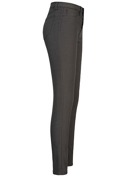 Seventyseven Lifestyle Damen Skinny Jeggings Hose 2 Deko Taschen High-Waist dunkel grau
