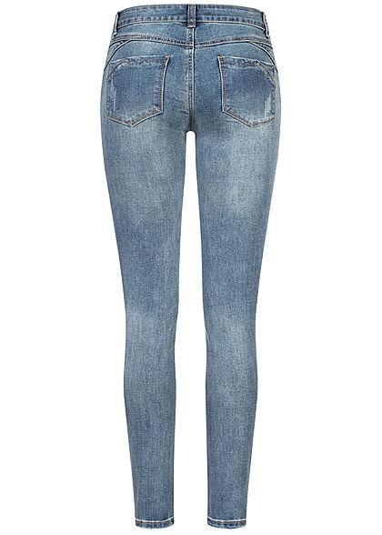 Seventyseven Lifestyle Damen Skinny Jeans Hose 5-Pockets Basic Style washed blau denim