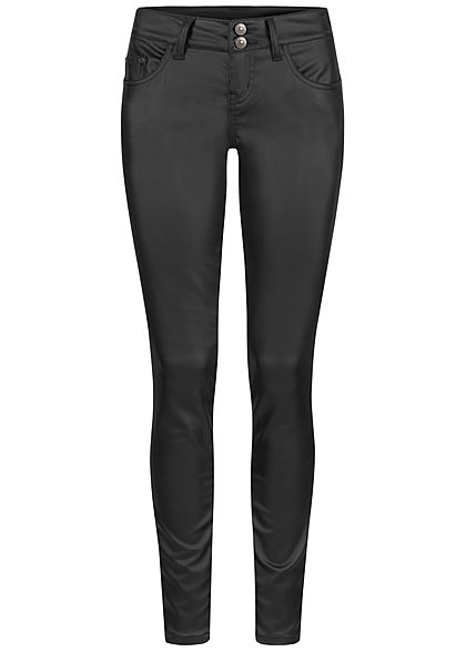 Seventyseven Lifestyle Damen Skinny Kunstleder Hose Regular Waist 5-Pockets coated schwarz - Art.-Nr.: 20118154