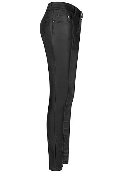 Seventyseven Lifestyle Damen Skinny Kunstleder Hose Regular Waist 5-Pockets coated schwarz