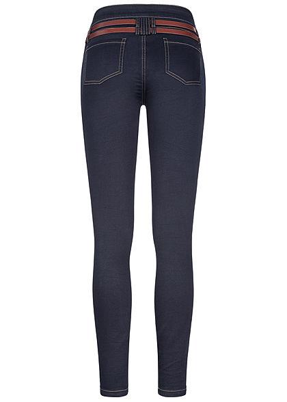 Seventyseven Lifestyle Damen Skinny Jeans Hose 5-Pockets Gürtel dunkel blau denim