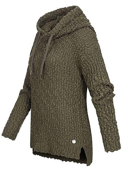 Seventyseven Lifestyle Damen Grobstrickpullover mit Kapuze dusty oliv grün