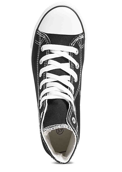 Seventyseven Lifestyle Dames Schoen High Canvas Sneaker zwart