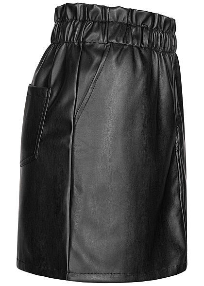 Noisy May Dames NOOS Paperbag Kunstlederen Mini Rok High-Waist zwart