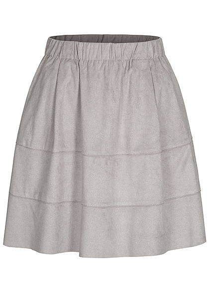 Noisy May Dames NOOS Mini Imitatieleren Rok 2-Pockets ash grijs - Art.-Nr.: 20120655