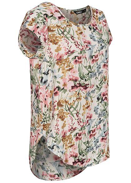 ONLY Damen NOOS Blusen Top Blumen Print Vokuhila Zipper cloud d. weiss beige mc