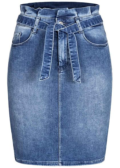 ONLY Damen Paperbag Midi Jeans Rock inkl. Bindegürtel 5-Pockets medium blau denim - Art.-Nr.: 20120667