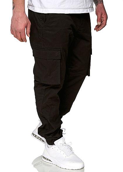 ONLY & SONS Herren Cargohose 6-Pockets Bündchen am Beinabschluss schwarz