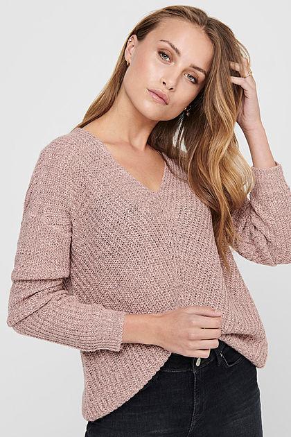 JDY by ONLY Damen NOOS Oversized V-Neck Sweater Strickpullover woodrose rosa